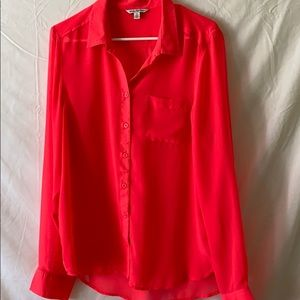 Semi sheer button down blouse neon large